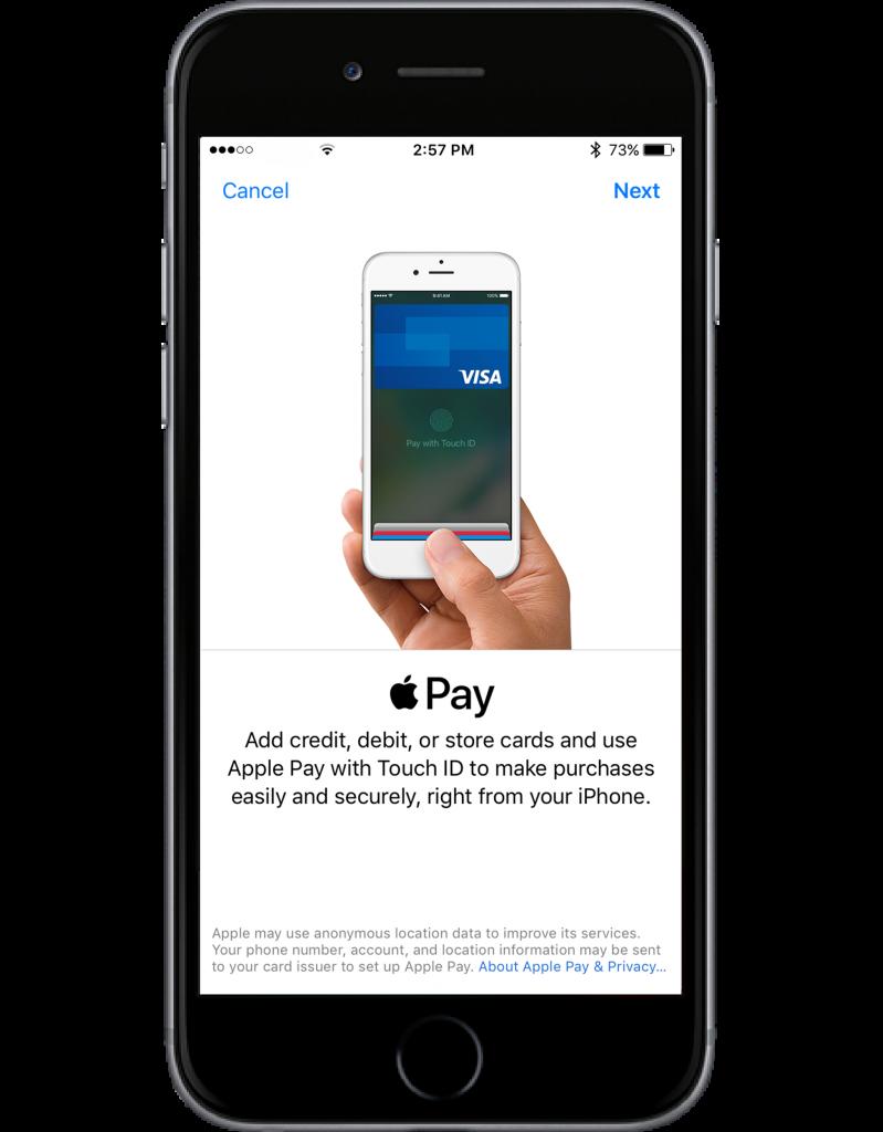 apple pay start screen