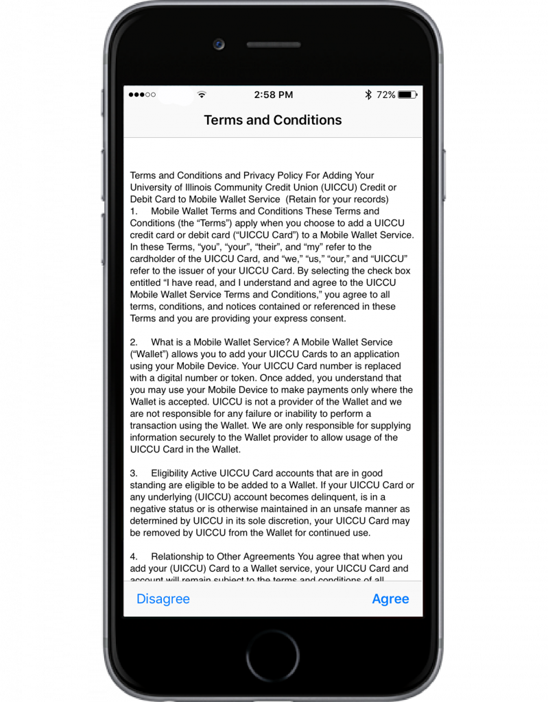 apple pay terms and conditions screenshot