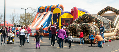 families at inflatables