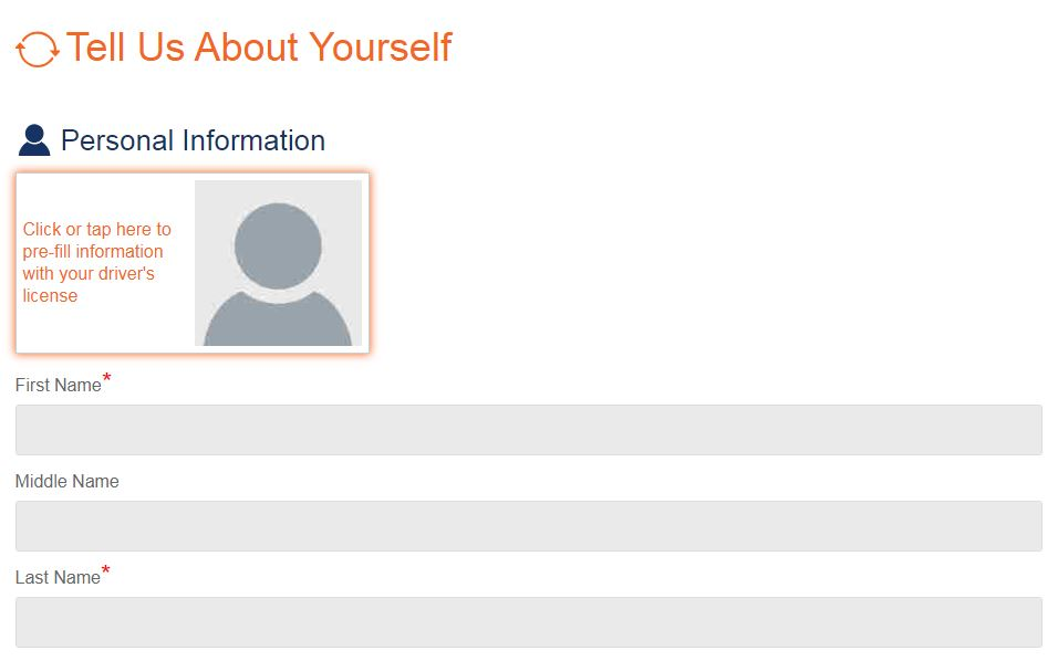 Screenshot of Personal Information Section on Online Application
