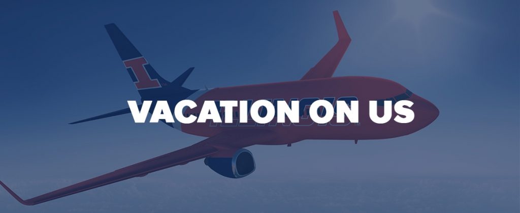 Vacation on Us Promo Image - Illini Plane Flying above Clouds