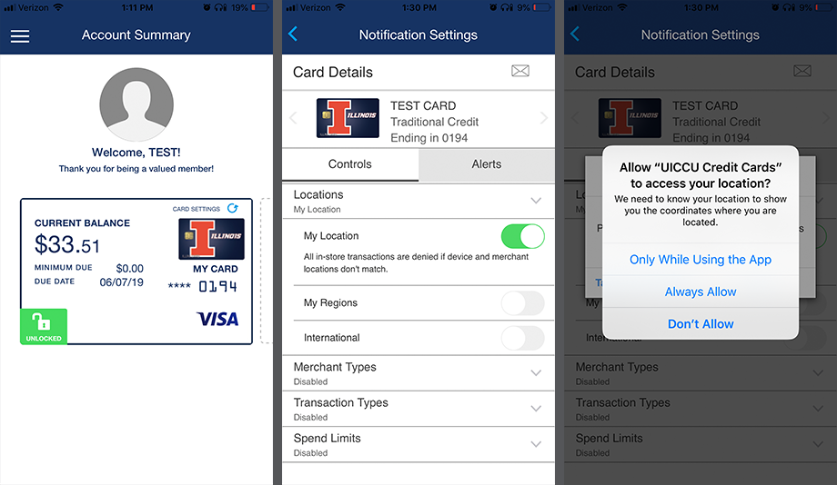 Picture Instructions for Setting Up Alerts on Credit Card App