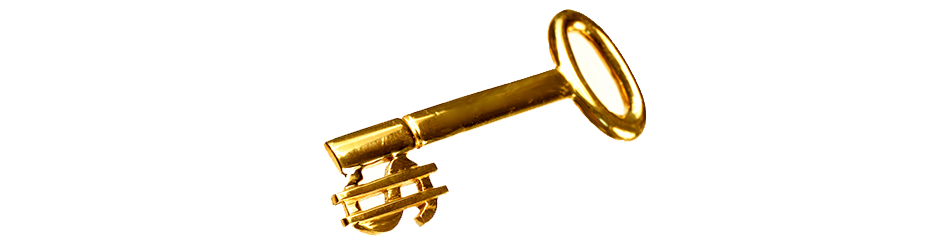 Golden Key with a money symbol as the teeh