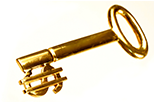 Golden key with a money symbol as the teeth