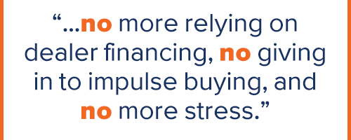 "Quote taken from article - ""...no more relying on delaer financing, no giving in to impulse buying, and no more stress."