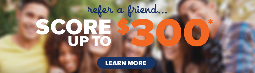 Refer a Friend Offer - Banner with a group of friends smiling