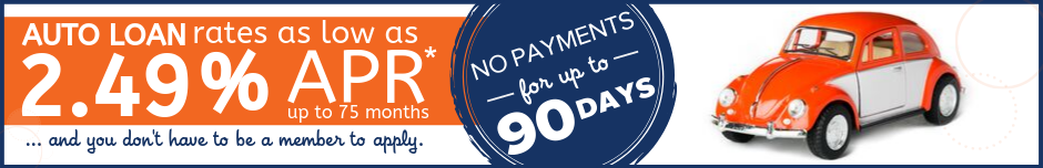 Auto Rates as Low as 2.49% and no payments for 90 days*