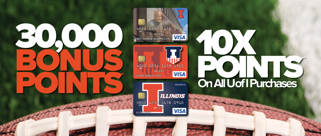 Bowl Game Offer Graphic - Image contains credit cards, a football, and offer information