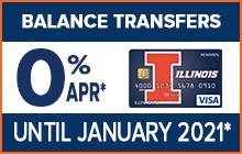 Balance Transfer Offer - 0% APR* on Balance Transfers until January 2021!